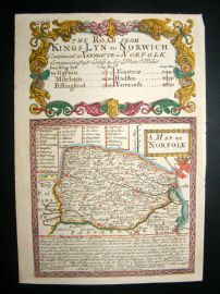 Owen & Bowen C1740 Antique Hand Col County Map, Norfolk, UK